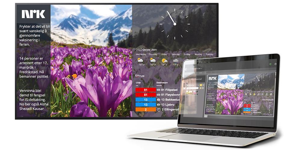 Infoskjerm sommer med widgets